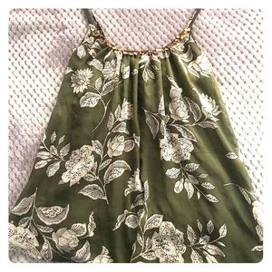 Forest green floral top